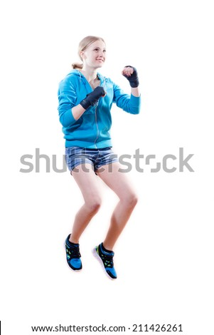 stop motion: jumping high boxing blond girl