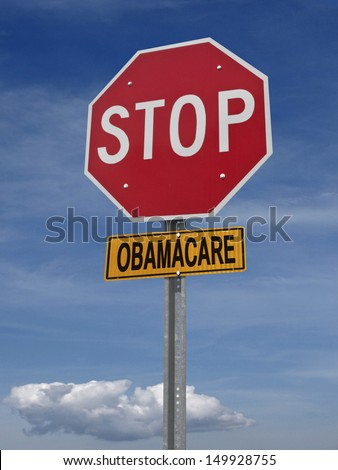stop obamacare ahead conceptual directional post over blue sky - stock photo