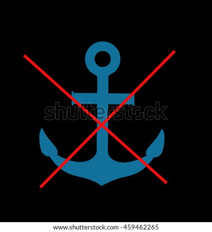 Stop or ban sign with anchor icon isolated - stock photo