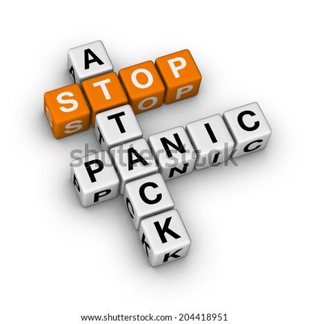 stop panic attack (orange-white crossword puzzles series) - stock photo