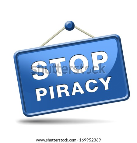stop piracy and illegal copying copyright and intellectual property protection protect copy of trademark brand - stock photo