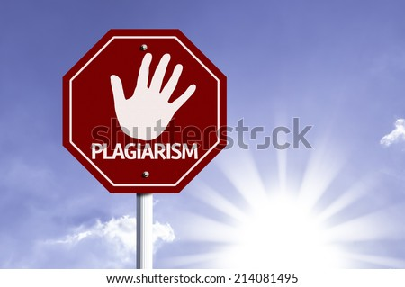 Stop Plagiarism red sign with sun background  - stock photo