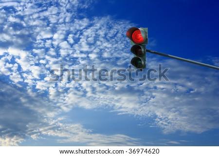 STOP: red light on traffic light - stock photo