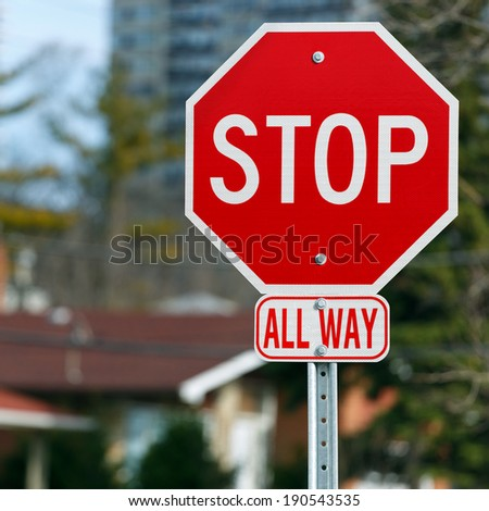 Stop road sign all way
