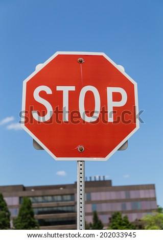 Stop Road Sign Closeup - stock photo