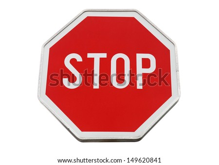 Stop road sign isolated on white - stock photo