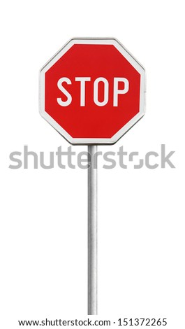 Stop road sign on metal pole isolated on white - stock photo