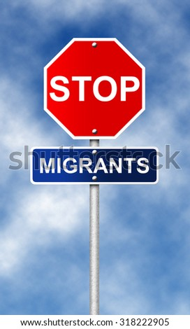 Stop road sign symbol for fight against with the migrants