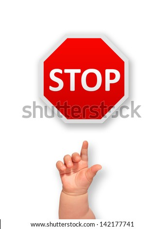 Stop sign and kids hand isolated over white. - stock photo