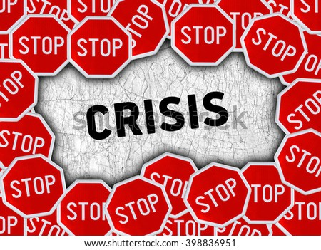 Stop sign and word crisis - stock photo