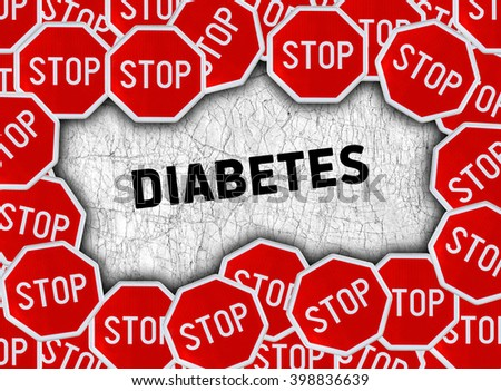 Stop sign and word diabetes - stock photo