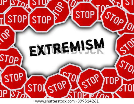 Stop sign and word extremism