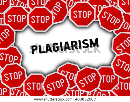 Stop sign and word plagiarism