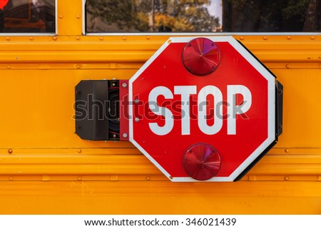 stop sign at a school bus in NYC