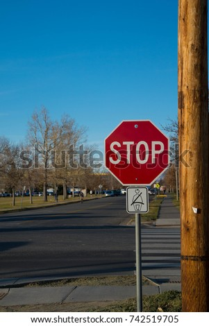Stop Sign At Street, Medium Wide, Blue Sky