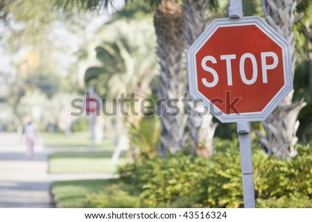 Stop Sign at the roadside - stock photo