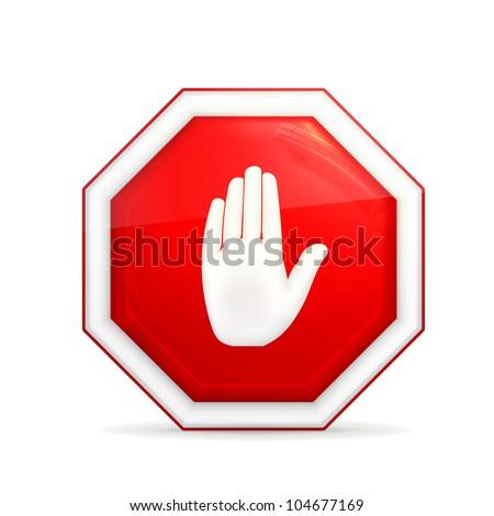 Stop sign, bitmap copy - stock photo