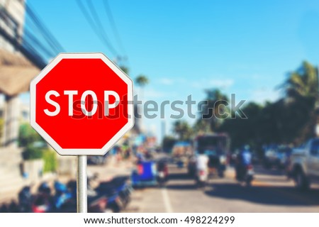 Stop sign by the City road