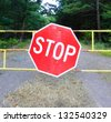Stop sign by the empty road - stock photo