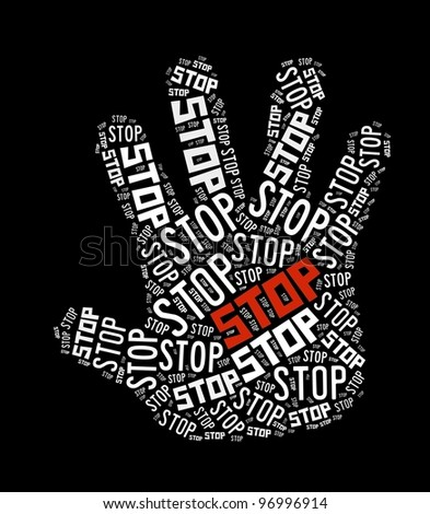 Stop sign in word collage - stock photo