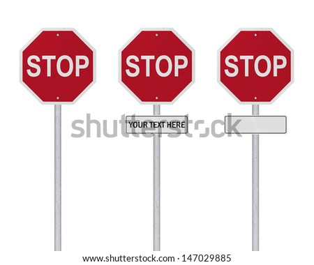 STOP Sign - Isolated - Blank - stock photo