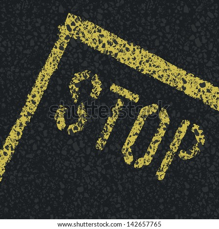 Stop sign on road. Raster version, vector file available in portfolio. - stock photo
