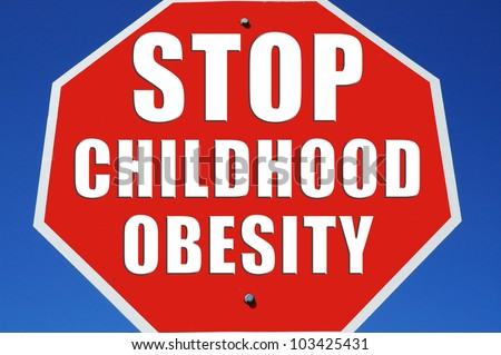 "Stop sign reading ""Stop Childhood Obesity"" - stock photo"