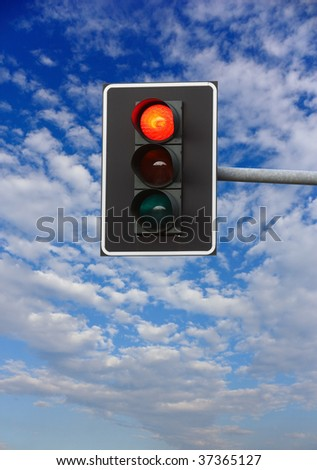 stop sign. red traffic lights - stock photo