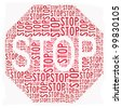 Stop sign text graphic illustration isolated on white - stock photo