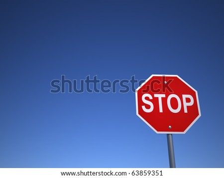 Stop sign - this is a 3d render illustration