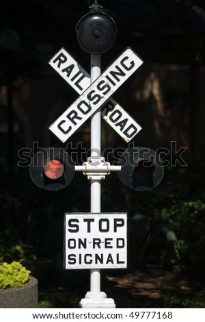 stop sign traffic railroad transportation object - stock photo
