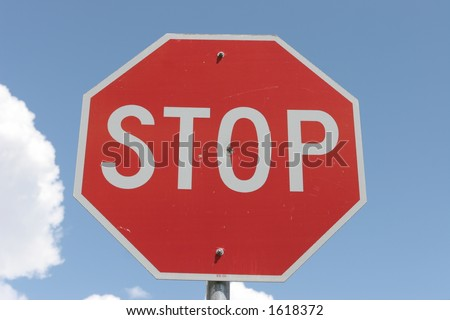 Stop sign viewed from below