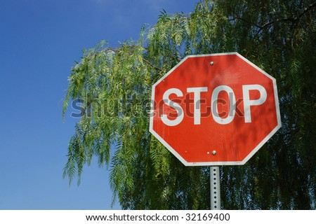 Stop sign, with tree and sky room for copy space