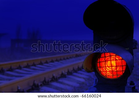 stop signal lamp in dusk - stock photo