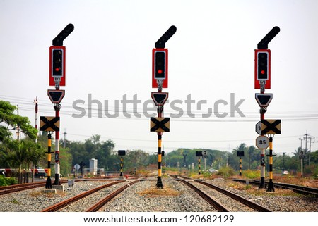 stop signalling for railway junction. - stock photo