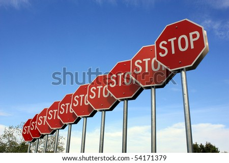Stop Signs With Plenty Of Room For Text - stock photo