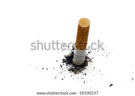 Stop smoking background with copy space - stub of cigarette with ash isolated on white - stock photo