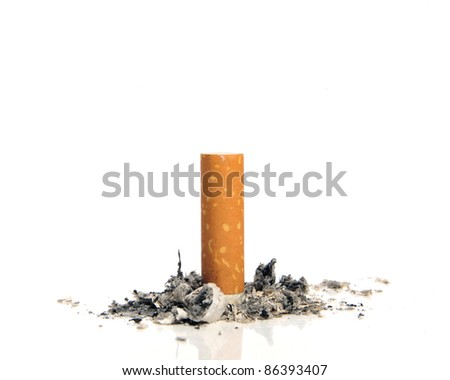 Stop smoking - Cigarette butt on white background - stock photo
