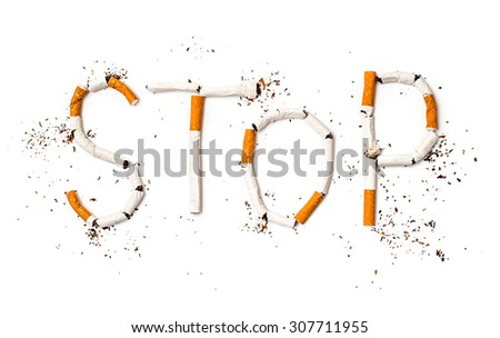 Stop smoking concept background made of cigarettes - stock photo