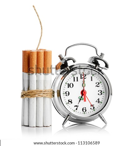 stop smoking concept isolated on a white - stock photo