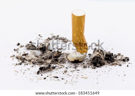 stop smoking. on the muffled cigarette on white background - stock photo