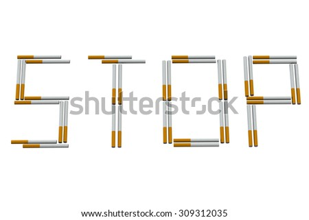 Stop smoking sign isolated on white background.  3D render. - stock photo