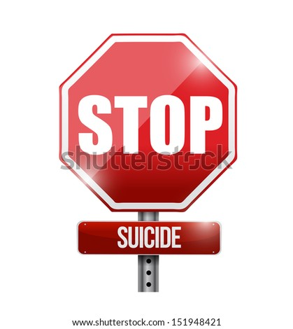 stop suicide road sign illustration design over a white background - stock photo