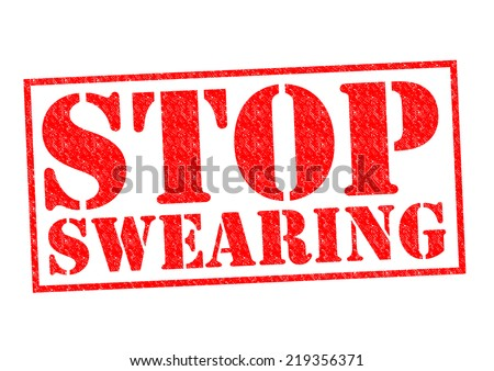 STOP SWEARING red Rubber Stamp over a white background. - stock photo