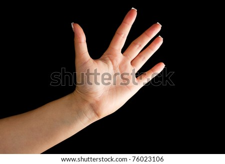 Stop symbol formed by female hand
