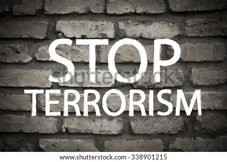 Stop Terrorism Message - stock photo