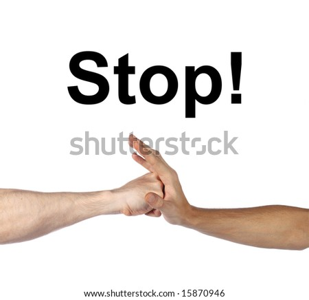 stop the beat sign hand stop another arm