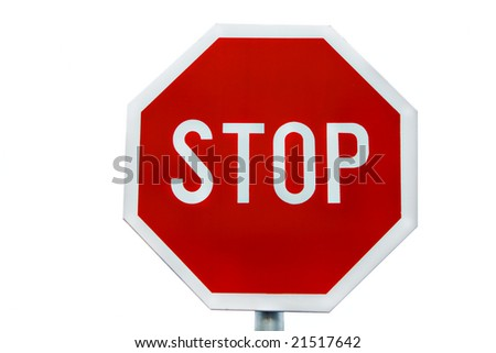 stop traffic sign isolated on white background - stock photo
