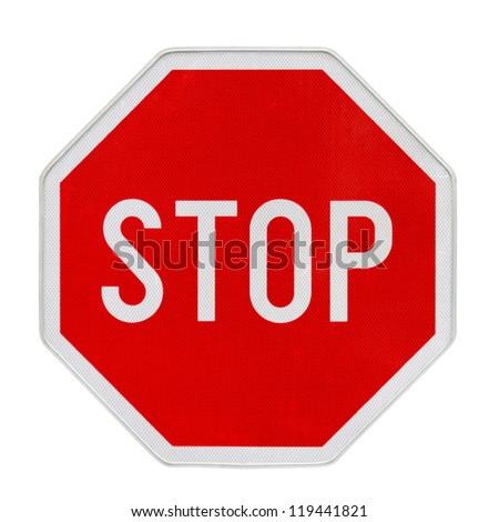 Stop traffic sign with new retroreflective fine surface - stock photo