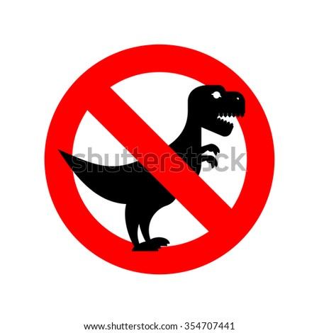 Stop Tyrannosaurus. Red is dangerous. Evil and scary t-Rex dinosaur. Toothy prehistoric reptile. Ban Animal of  Jurassic period. - stock photo